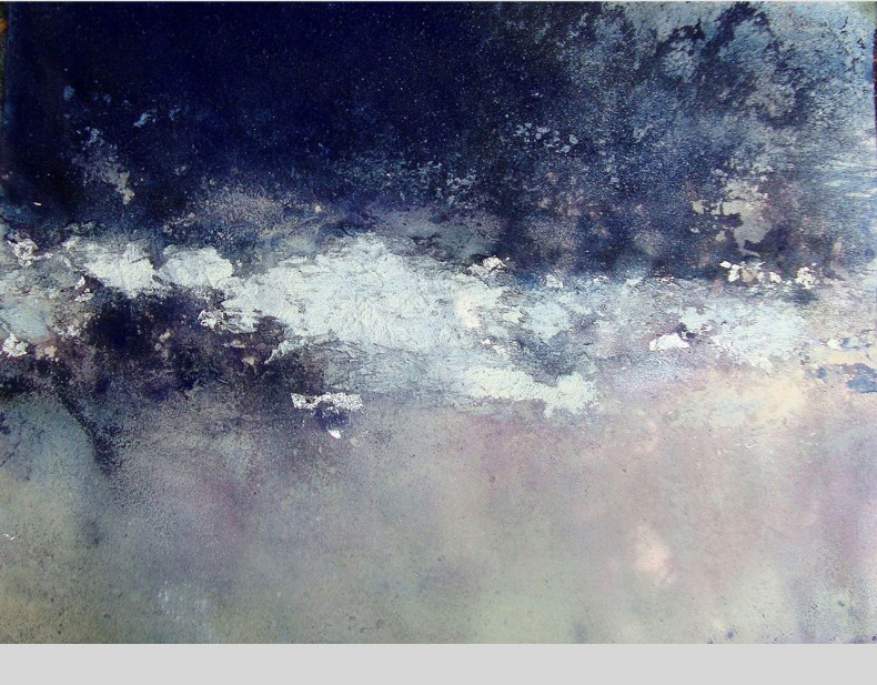 Clouds, work on paper, hibiscus, pigment, acuarelle, oil on paper, 100x70 cms. 2011, 3000 eurs