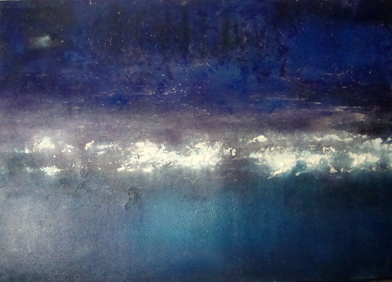 Night, oil, silver and pigment on canvas, 170x120 cms. 6000 eurs. 2001